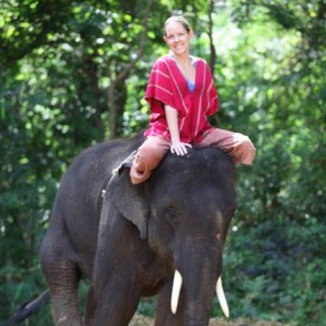 Lori on an elephant