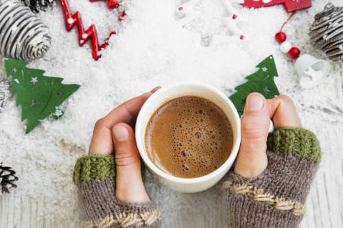 Chocolate Mug on Christmas Time, Hands Holding Hot Cocoa Cup