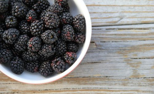 Bowl of fresh,sweet blackberries on old gray wood. ** Note: Soft Focus at 100%, best at smaller sizes