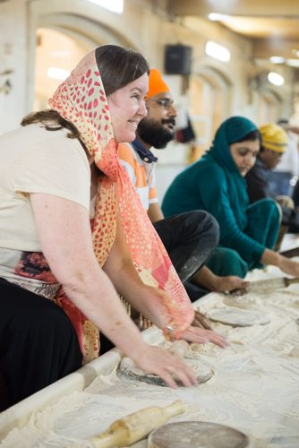 India Travel Writing Expedition - Sikh Temple kitchen rolling dough