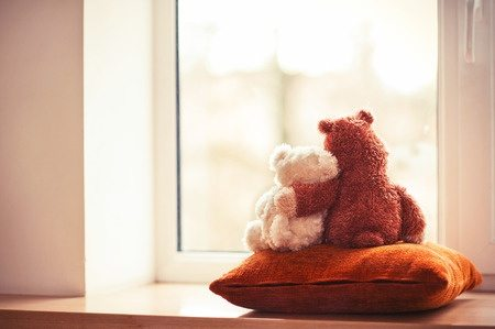 27284696 - two embracing loving teddy bear toys sitting on window-sill