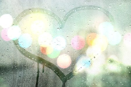 48291009 - autumn rain, draw heart on glass - love concept