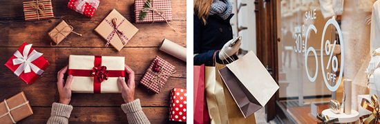Holiday shopping stock photos