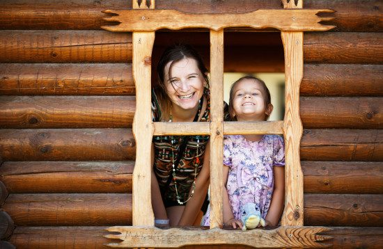 stock photo example using a window to frame two people