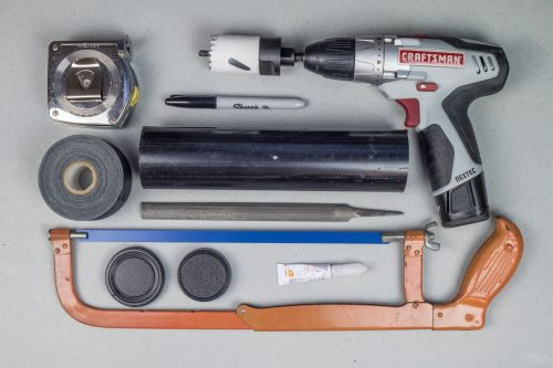 These components (including tools you probably already own) can be bought cheaply at your hardware store to produce an effective macro lens