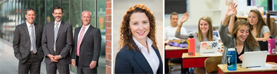 Stock photography showing business people and students