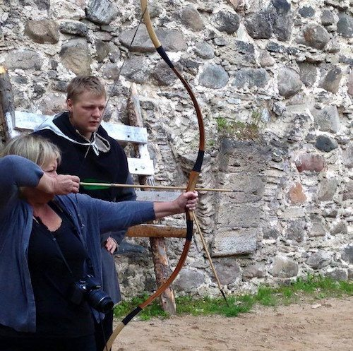 Terri enjoyed archery on a press trip to Latvia with many expenses paid