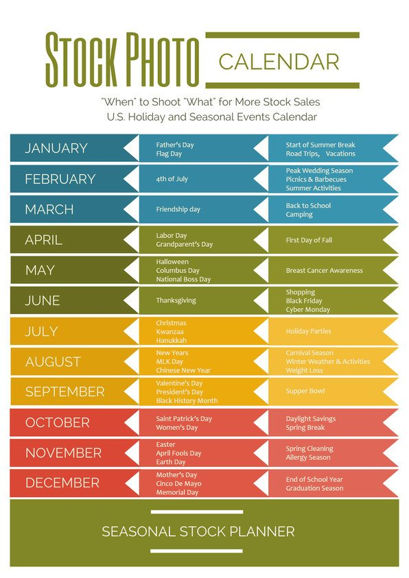 Great Escape Publishing's Printable stock calendar